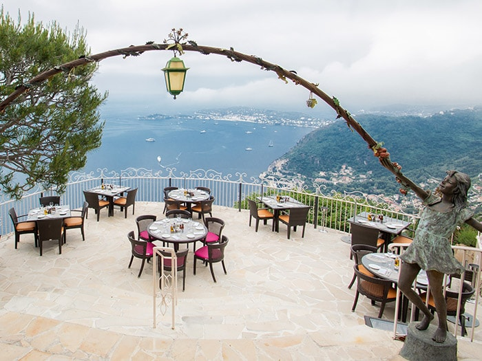 Le Cafe Du Jardin Of The Chateau De La Chevre D Or On The French Riviera