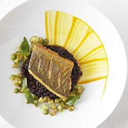 Pan fried sea bream, saffron rice and local zucchini - Restaurant Les Remparts